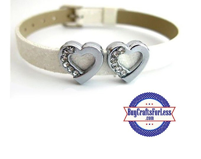 Rhinestone Heart for 8mm Slider Bracelets, Collars, Key Rings +FREE Shipping & Discounts*