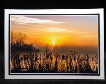A Foggy Morning Sunrise 5x7 Blank Card By ThomasMinutoloPhotos