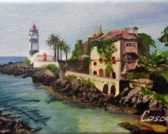 Small acrylic painting of lighthouse in Cascais