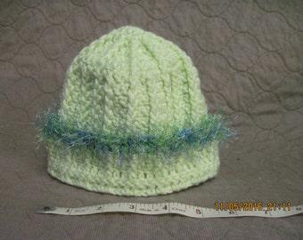 child's lemon lime winter hat with lime and blue fringe