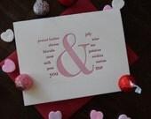 you & me letterpress card