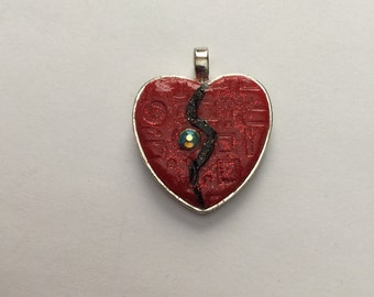 25 mm Red Heart with Jewel Pendant , Valentine
