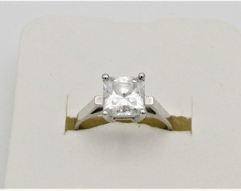 Square Cut Cubic Zirconia Solitaire Ring