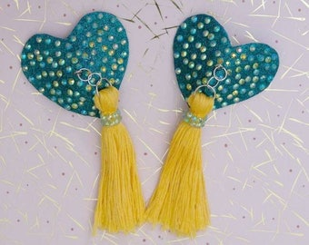 Teal Heart Pasties with Yellow Tassels