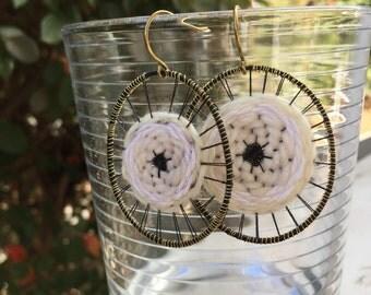 SUFFRAGETTE: hand-woven fiber statement earrings