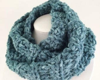 Blue Infinity Scarf, Chunky Crochet Scarf, Long Scarf, Winter Scarf, Chunky Crochet Cowl, Circle Scarf, Crochet Scarf / The Basic Scarf