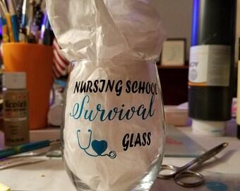 Painted Nursing school glass
