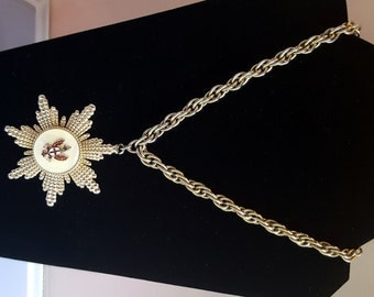 Gold Mother of Pearl Medallion Necklace & Earring set by Coro