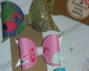 The Funky Flamingo 3 piece hair clip set * glitter bows * Perfect for Summer