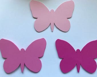 Shades of Pink Butterfly Die Cuts - Pink Butterfly Gift Tags - Butterfly Birthday Party Decorations - Butterfly Tags - Butterfly Guestbook