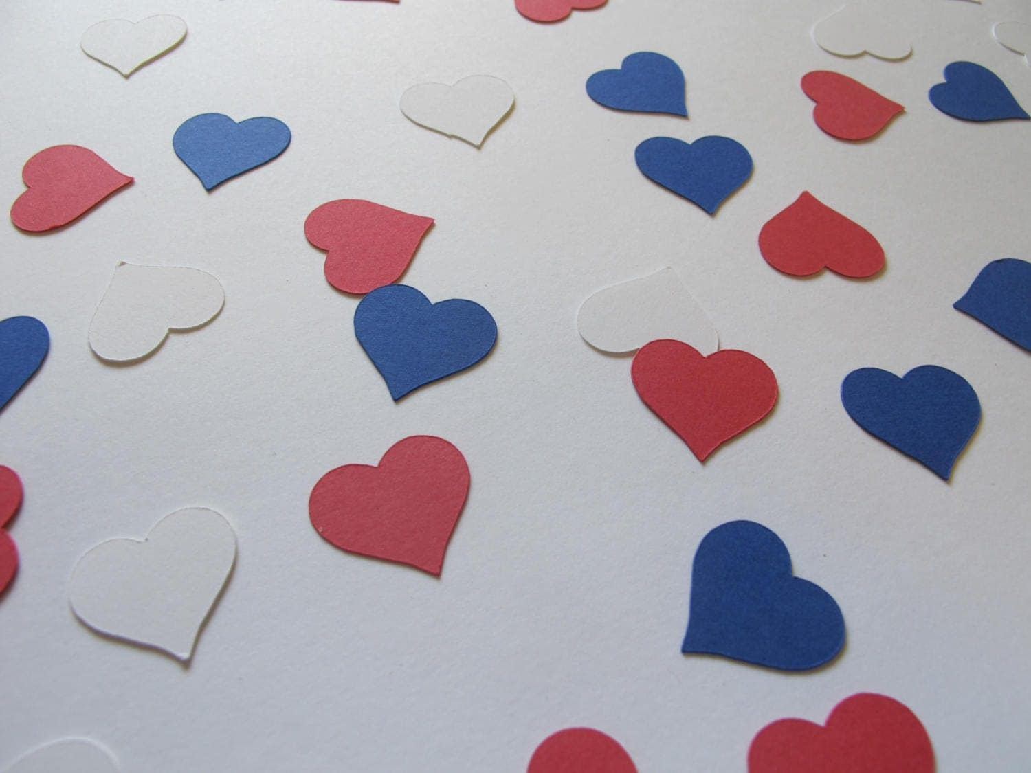 Red White and Blue Heart Confetti Patriotic Party Decor Red