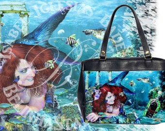 Absinthe at Sea - Leather HandBag - Mermaid Fantasy