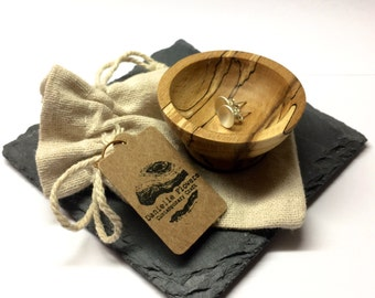 Handcrafted, wood turned, spalted beech, earring dish, miniature bowl, wooden bowl, complete with cotton bag