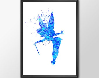 Disney Tinkerbell Fairy Watercolor Poster Tinkerbell Poster Tinkerbell Print Wall Art Print Poster Home Decor Kids