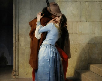 Francesco Hayez: The Kiss ''El Beso'' (1859) Canvas Gallery Wrapped Wall Art Print