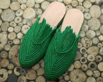 Green Moroccan handmade shoes made of natural raffia, real leather and rubber soles. soft and extremely comfortable! comes in all sizes