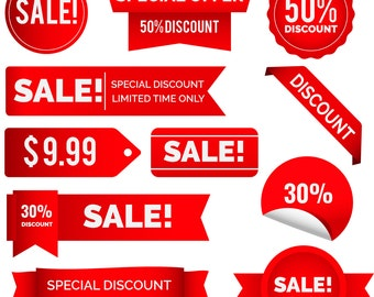 Sale Banner Svg, Collection-red-discount-stickers