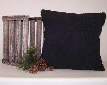 Black Minky Berber Fleece Pillow Cover 18x18