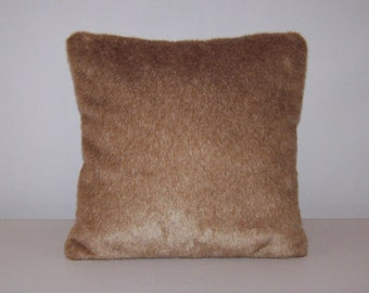Tan Faux Fur Accent Pillow 16x16, Brown faux fur decorative pillow