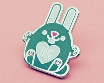 Hug Bunny | Cute Rabbit Pin Badge | Hard Enamel Badge | Bunny Rabbit Pin Badge | Give the Gift of a Hug Hugs | For Lovers of Rabbits or Hugs