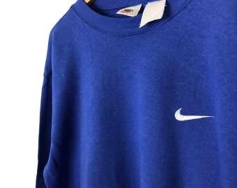 Vintage NIKE Swoosh Logo Plain Blue Sweatshirt Size Large