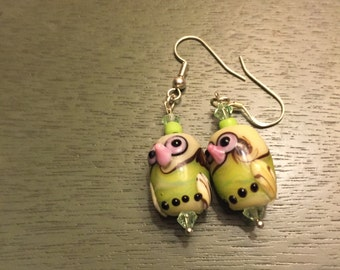 Lampwork owl earrings