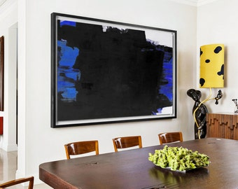 Extra Large Painting, Large Canvas Art. Minimalist Art, Modern Art Abstract Painting Black and White  Art