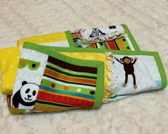 Rag Quilt Handmade for Bassinet or Dolls - Zoo Theme with Yellow and Lime Green - 20 x 25 inches