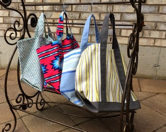 Fabric Market Tote Bag: Turquoise Diamonds, Pink Aztec, Yellow/Grey Stripes for beach, shopping, toys, knitting or craft projects and more!