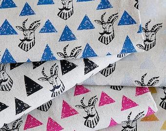 Echino Impala cotton linen Japanese Fabric antelope fabric- 50cm