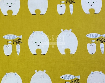 Kiyohana cotton linen Polar bear fabric -50cm