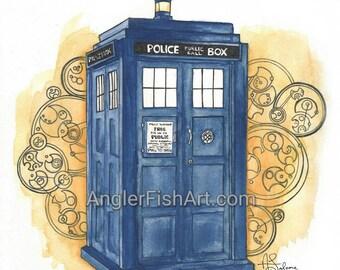 """TARDIS 10x10"""" Matted Giclée Print"""