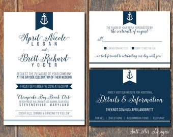 Printable Nautical Wedding Invitation Suite. Anchor. Navy & White Wedding Invitation.