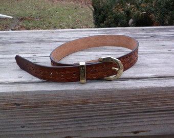 Hand Tooled Leather Belt Design 4