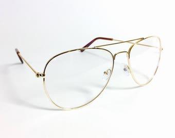 aviator style glasses nwaz  Vintage Gold Aviator Frame Clear Lens Pilot Style Glasses