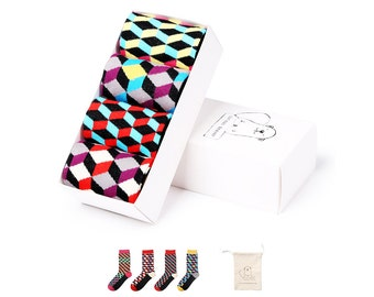 Sock Gift Box for Men - 4 Pairs - 3D Funky Colorful Patterns