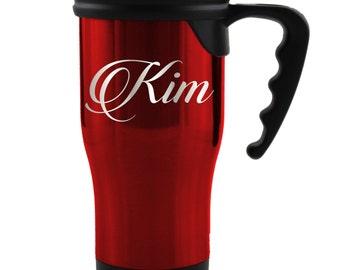 Personalized Travel Mug, Travel Tumbler, Custom Travel Coffee Mug, Travel Coffee Cup Travel Coffee Mug Coffee Tumbler Travel Mug with Handle