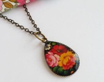 Colourful Rose Teardrop Resin Pendant Necklace
