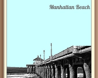 Manhattan Beach California    Skyline Poster