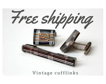 Vintage Cufflinks with tie-pin, Cufflinks, metal Cufflinks, USSR Cufflinks, 70th Cufflinks, 80th Cufflinks, Soviet vintage cufflinks