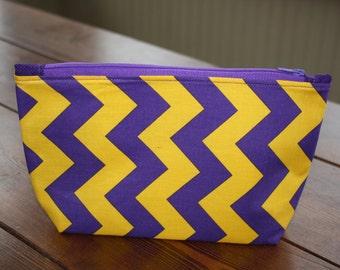Purple and Gold Zipper Bag