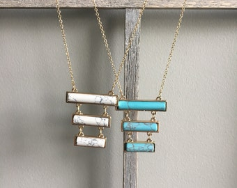 3 Row Marble Necklace