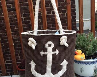 Anchor handbag / crochet handbag / knitted handbag / tote bag / rope handles