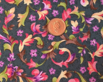 Grey and Multi Floral Jacobean Inspired Cotton Fat Quarters