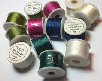 2mm Wide Spools of Silk Ribbon for Embroidery, Sewing, or Weaving