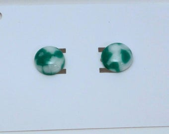 Teal and White Stud Earrings