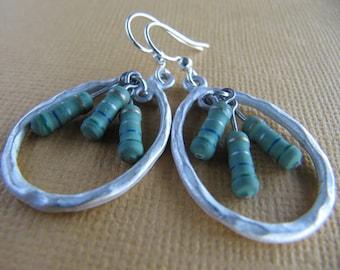 Oval Green Resistor Earrings