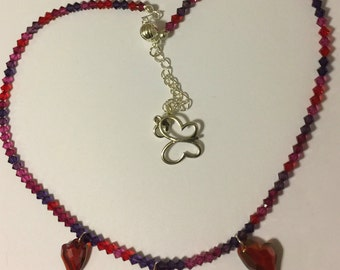 Red Crystal Heart Necklace 15% Off Labor Day Sale