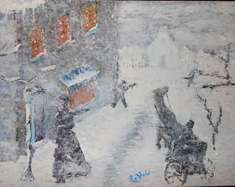 "Winter Street Oil Painting on Canvas 9"" x 12"" 2/2"