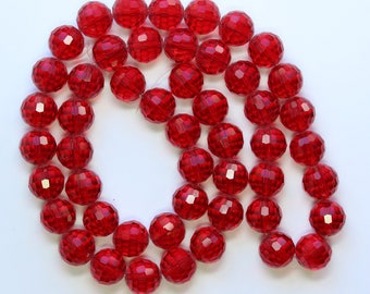 12mm Red Beads Faceted Red Glass Crystal Rounds 22 inch Strand 50 Beads 1mm Hole Size